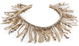 Givenchy Gold-Tone Crystal & Chain Fringe Cuff Bracelet