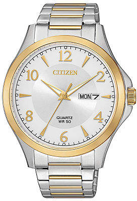 Citizen Quartz Mens Two Tone Stainless Steel Bracelet Watch-Bf2005-54a Family