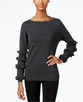 NY Collection Ruffled-Sleeve Sweater