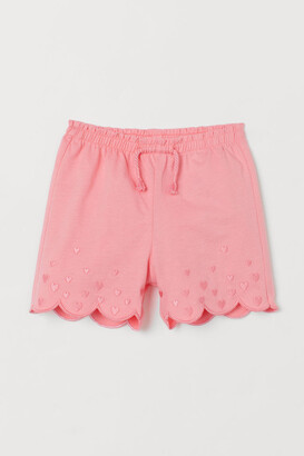 H&M Embroidered Jersey Shorts - Pink