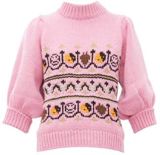 Ganni Intarsia-knitted Wool-blend Sweater - Womens - Pink