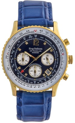 Krug Baumen Krug-Baumen 400213DS Krug-Baumen Diamond Air Traveller Quartz Chronograph Gold/Brown Watch 400213DS