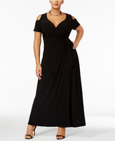 Love Squared Trendy Plus Size Cold-Shoulder Faux-Wrap Dress