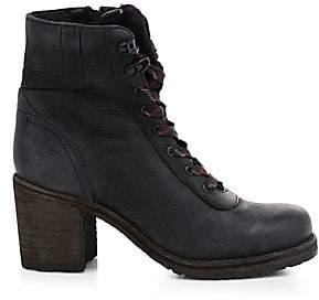 Frye Women's Karen Shearling-Lined Leather Stacked Heel Hikers