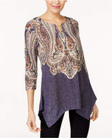 JM Collection Printed Keyhole Tunic, Created for Macy's