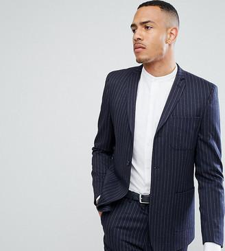 Asos TALL Skinny Suit Jacket in Navy Pinstripe