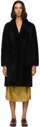 Yves Salomon Meteo Black Teddy Coat