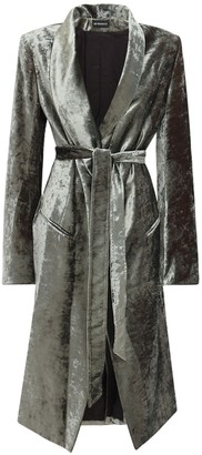Ann Demeulemeester Wrap Velvet Knee Length Dust Coat W/Belt