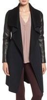 Mackage Women's Leather Sleeve Double Face Wool Blend Wrap Coat