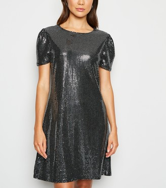 New Look Mela Metallic Puff Sleeve Dress