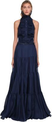 Ralph Lauren Ruched Silk Gaueze Long Dress
