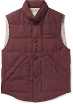 Brunello Cucinelli - Slub Wool, Linen And Silk-blend Down Gilet