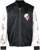 The Kooples embroidered skull bomber jacket - men - Cotton/Lamb Skin/Polyester/Acetate - 50