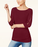 INC International Concepts Cold-Shoulder Zipper Top, Created for Macy's
