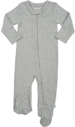 100% Organic Solid Footie - Size 6 - 9 Months - Grey