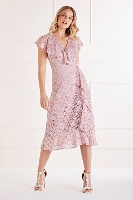 Yumi Ruffle Wrap Lace Midi Dress