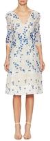 Monique Lhuillier Lace Floral Applique Flared Dress