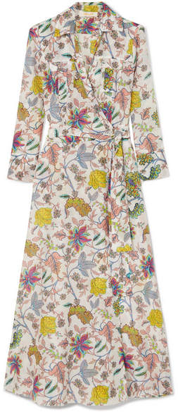 Diane von Furstenberg Floral-print Cotton And Silk-blend Wrap Midi Dress - White