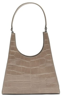 STAUD Rey Crocodile-effect Leather Shoulder Bag - Grey
