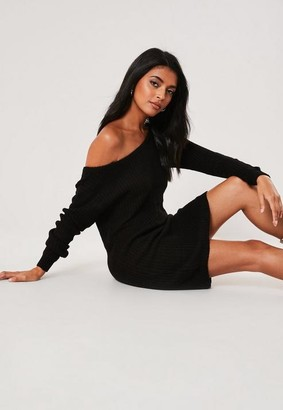 Missguided Tall Black Off Shoulder Knit Sweater Dress
