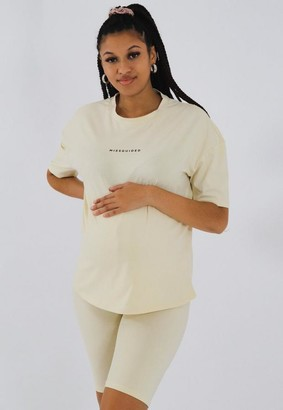 Missguided Cream Maternity T Shirt And Biker Shorts Co Ord Set
