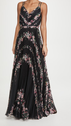 Marchesa Sleeveless V Neck Gown with Self Belt