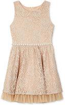 BCX Gold Allover Lace Dress, Big Girls (7-16)