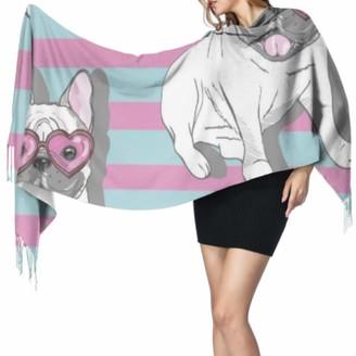 Yushg Funny Smart Cute Animal Pet Bulldog Scarfs For Girls Cashmere Wrap Scarf Body Shawl Wrap 77x27inch/196x68cm Large Soft Pashmina Extra Warm