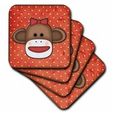 3drose 3dRose Cute Sock Monkey Girl, Soft Coasters, set of 8