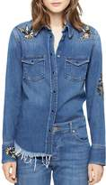 Zadig & Voltaire Thelma Deluxe Embroidered Love Now Denim Shirt