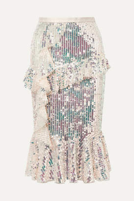 Needle & Thread Scarlett Ruffled Sequined Tulle Midi Skirt - Gold