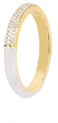 Ef Collection Two Tone Diamond and White Enamel Ring in Yellow Gold