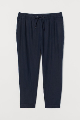 H&M H&M+ Pull-on Linen Pants - Blue