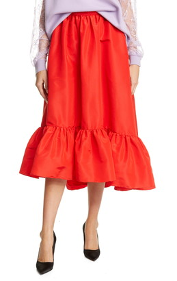 Adam Lippes Ruffle Hem Silk Faille Midi Skirt