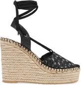 Ash Tessa sequin-embellished canvas wedge sandals