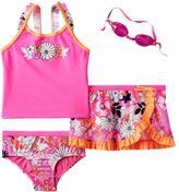 ZeroXposur Girls 4-6x Flower Tankini Top, Bottoms & Ruffled Skirt Swimsuit Set