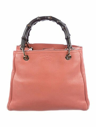 Gucci Swing Bamboo Medium Shopper Tote Coral