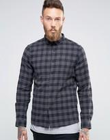 Asos Regular Fit Check Shirt In Gray