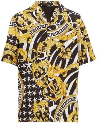 Versace Baroque-print Silk-twill Shirt - Mens - Black Gold