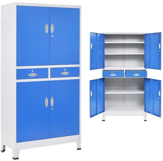 "VidaXL Office Cabinet with 4 Doors Metal 35.4""x15.7""x70.9"" Gray and Blue"