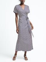 Banana Republic Print Short-Sleeve Maxi Wrap Dress
