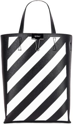 Off-White Off White Diagonal Tote Bag in Black & White   FWRD