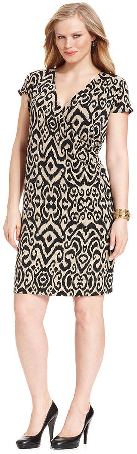 Jones New York Signature Plus Size Dress, Cap-Sleeve Printed Faux-Wrap