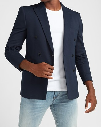 Express Slim Navy Luxe Comfort Knit Double Breasted Blazer