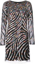 Aidan Mattox sequin striped mini dress