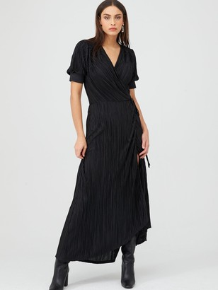 Very Plisse Wrap Maxi Dress - Black