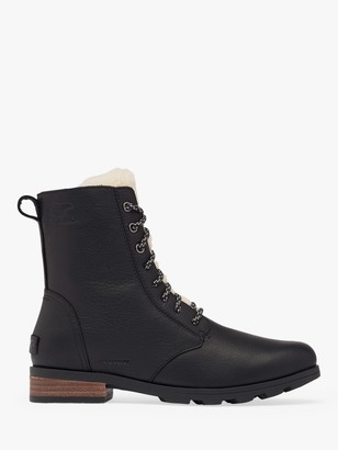 Sorel Emelie Leather Short Lace Up Cosy Boots, Black