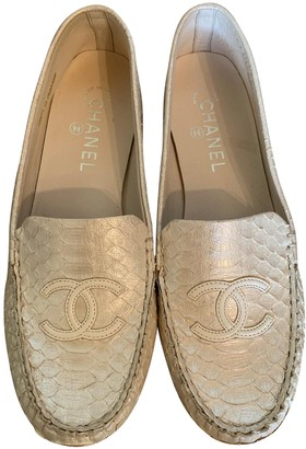 Chanel White Leather Flats