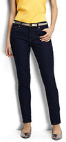 Lands' End Women's Petite Not-Too-Low Rise Slim Jeans-Dark Indigo Wash