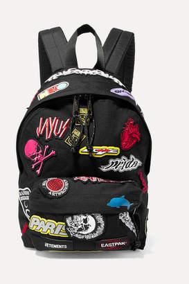 Vetements + Eastpak Appliqued Canvas Backpack - Black